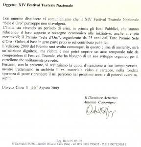 La lettera dell'organizzazione del festival
