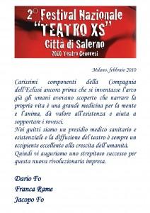 Lettera di Dario Fo al Festival Teatro XS