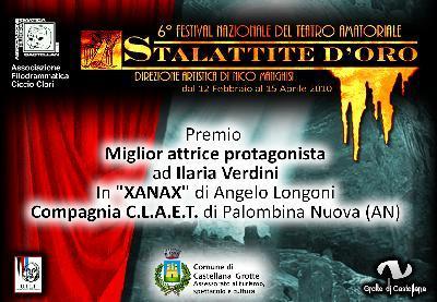 """Miglior attrice protagonista alla """"Stalattite d'oro"""" di Castellana Grotte (BA) (Xanax)"""