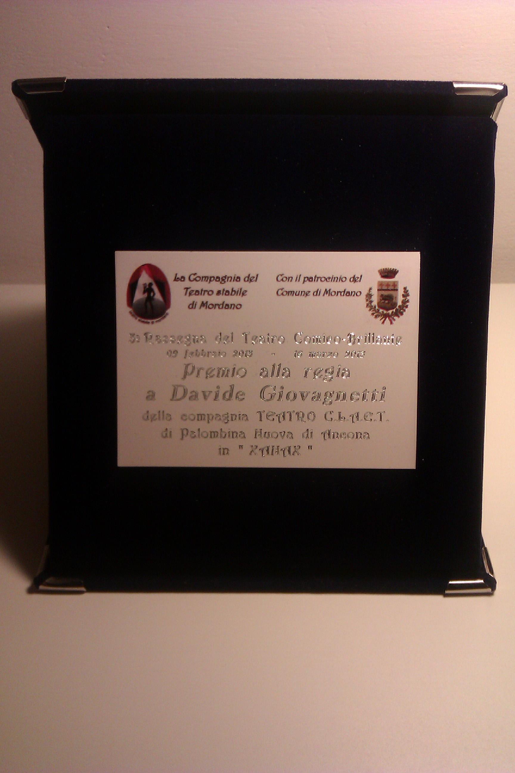 Premio miglior regia alla III rassegna di Mordano (Bo) (Xanax)