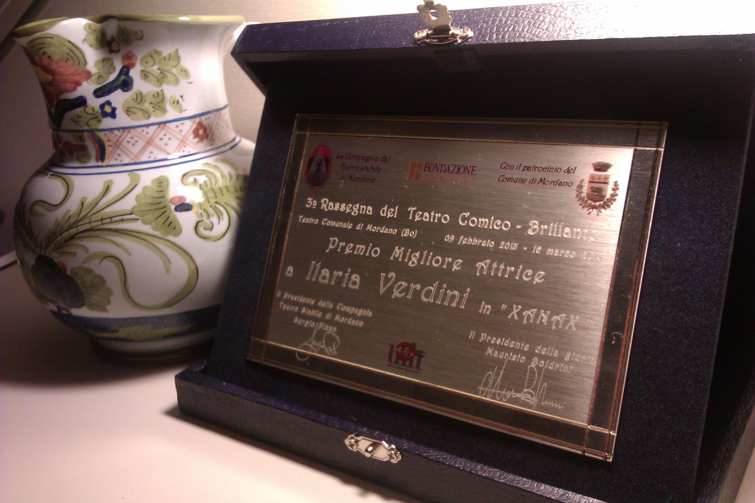 Premio miglior attrice protagonista a III rassegna di Mordano (BO) (Xanax)
