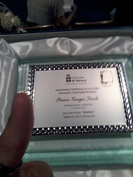 Premio miglior regia al premio Totola di Verona (Xanax)