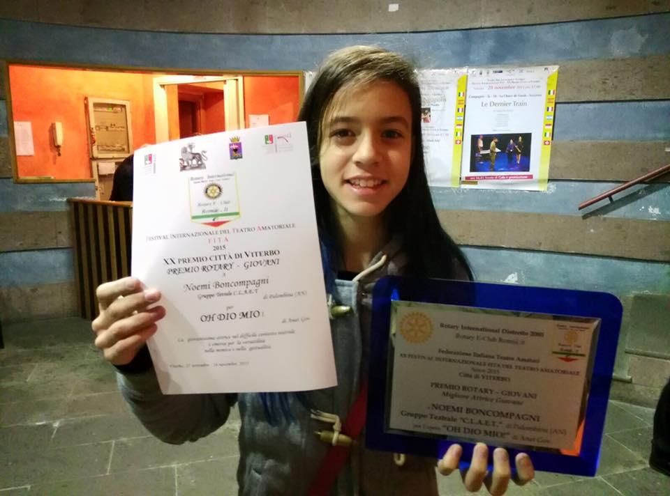 Premio miglior attrice giovane (premio Rotary) al XX Festival internazionale città di Viterbo (Oh Dio mio!)
