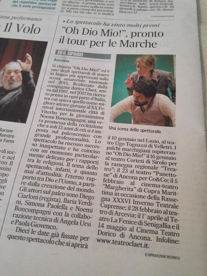 Oh Dio mio! Sul Corriere Adriatico
