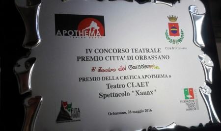 """Premio della critica Apothema al festival """"Camaleonte"""" di Orbassano (Xanax)"""