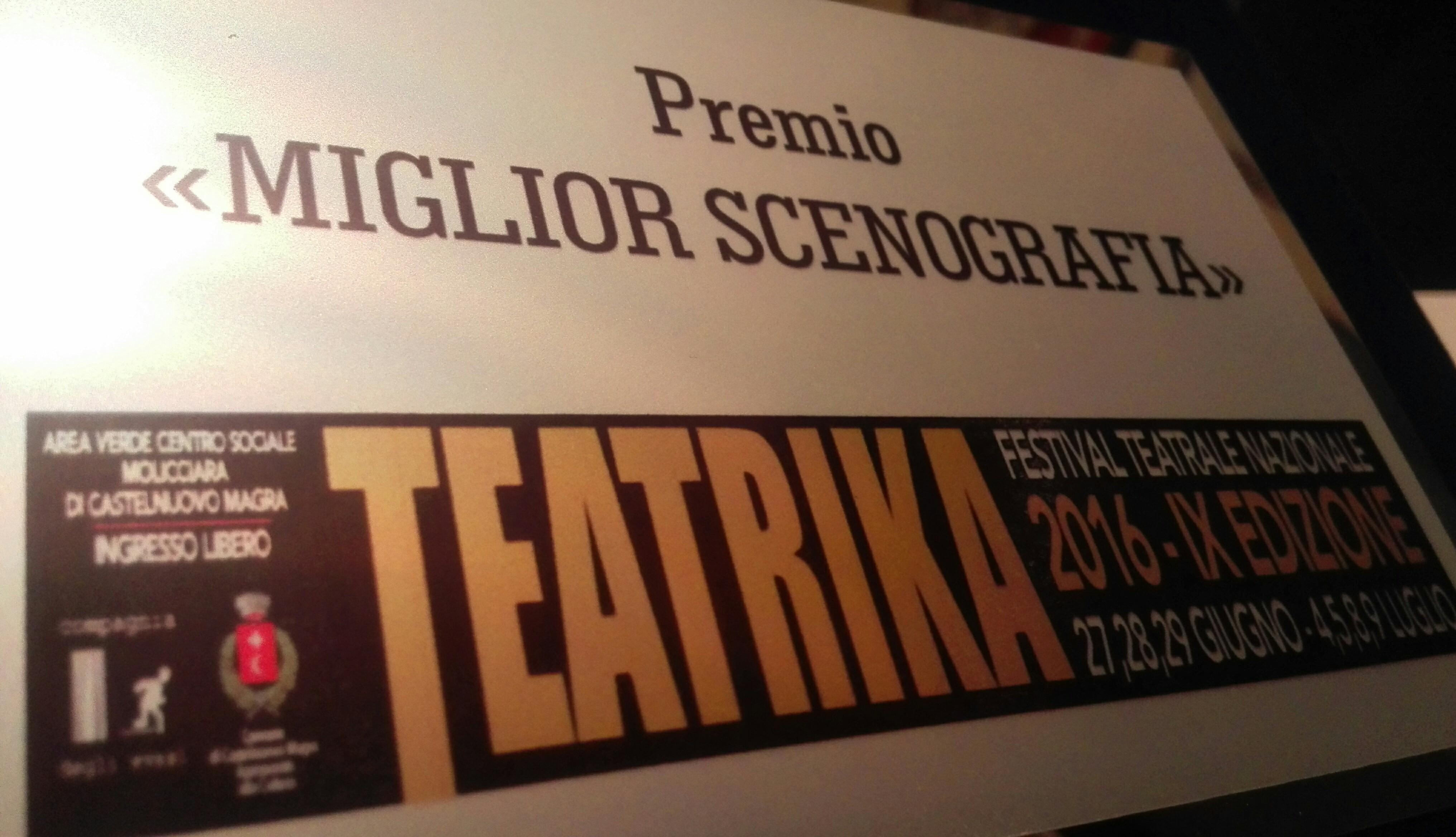 """Premio miglior scenografia al """"Teatrika"""" di Castelnuovo Magra (SP) (Oh Dio mio!)"""