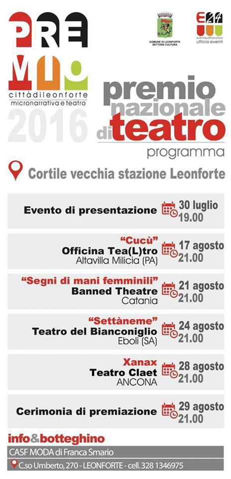 ''Xanax'' quarto ed ultimo spettacolo teatrale in concorso al ''Premio Città di Leonforte''