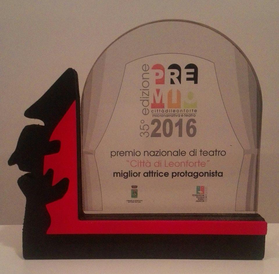 Premio miglior attrice protagonista all'edizione 2016 del premio nazionale di teatro città di Leonforte (EN) (Xanax)