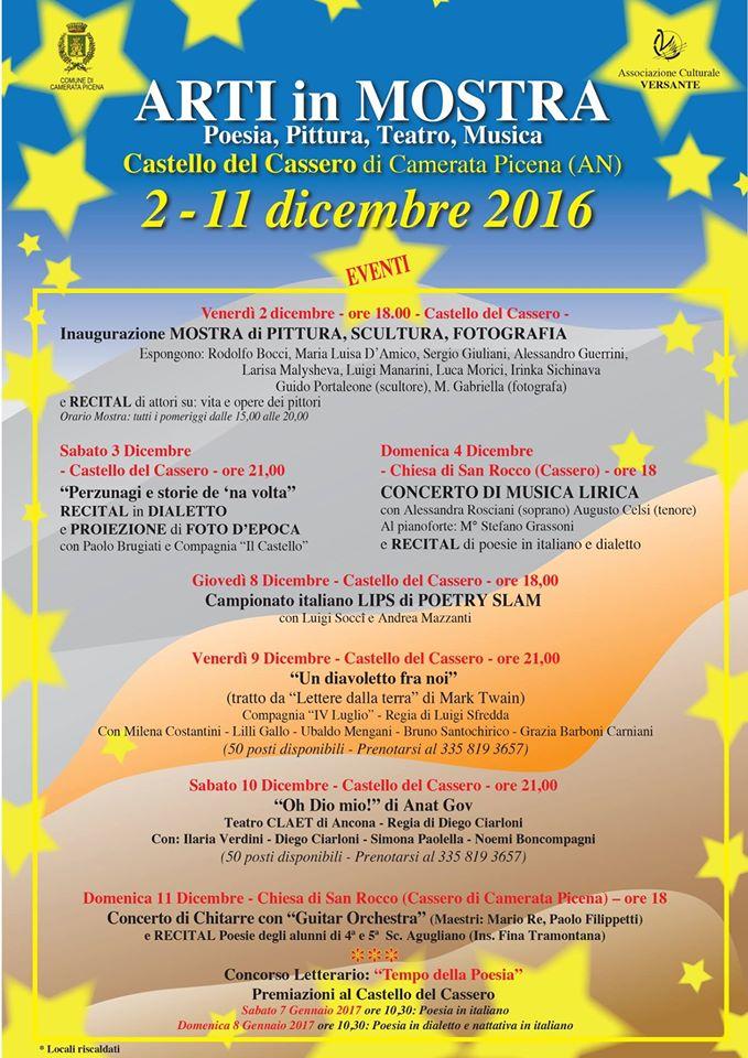 """Dal 2 all'11 dicembre """"al castello del Cassero"""" di Camerata Picena: poesia, pittura, teatro e musica"""