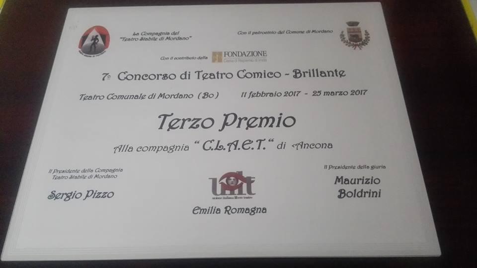 III classificato al VII concorso di teatro Comico-Brillante Mordano (Bo) (Oh Dio mio)!