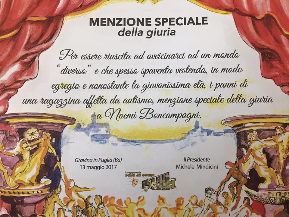 """Menzione speciale a Noemi Boncompagni al Festival """"Amattori insieme"""" di Gravina di Puglia (Ba) (Oh Dio mio!)"""