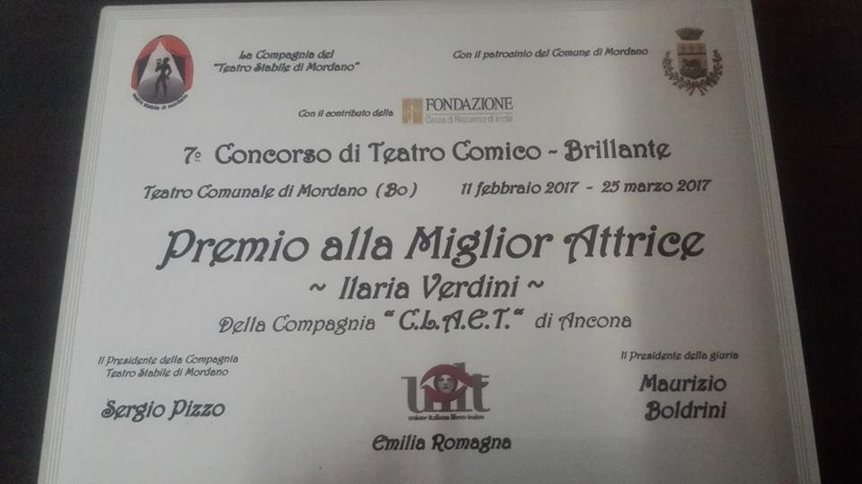 Miglior attrice protagonista al VII concorso di teatro Comico-Brillante Mordano (Bo) (Oh Dio mio)!