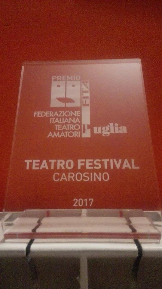 Premio Fita Puglia x l'originalità del testo al III Teatro Festival di Carosino (Ta) (Oh Dio mio!)
