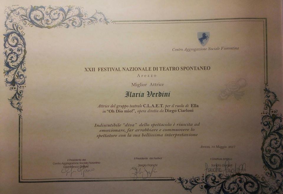 Premio miglior attrice protagonista al XXII Festival nazionale di teatro spontaneo di Arezzo (Oh Dio mio!)