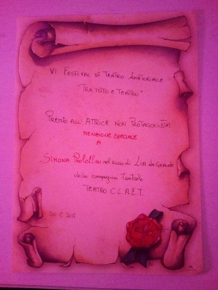 """Menzione speciale come attrice non protagonista al festival """"Tra mito e teatro"""" di Pozzuoli (NA) 2017"""