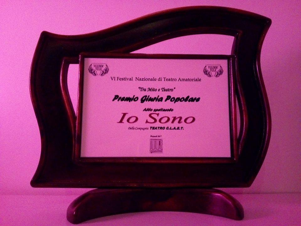 """Premio miglior spettacolo per la giuria popolare al festival """"Tra mito e teatro"""" Pozzuoli (Na) 2017"""