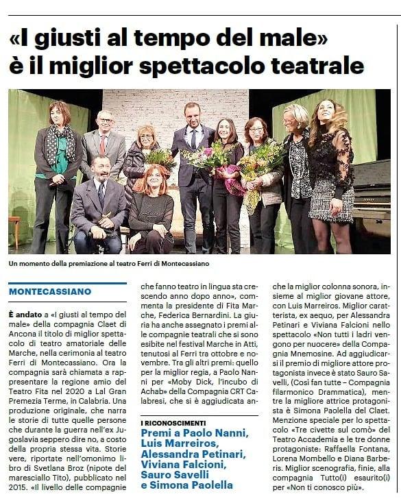 I giusti nel tempo del male sul Corriere Adriatico