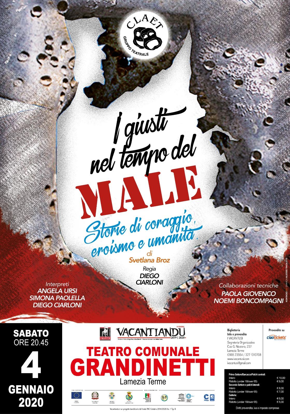 """Al Gran Premio del Teatro Amatoriale per la regione Marche con """"I giusti nel tempo del male"""""""