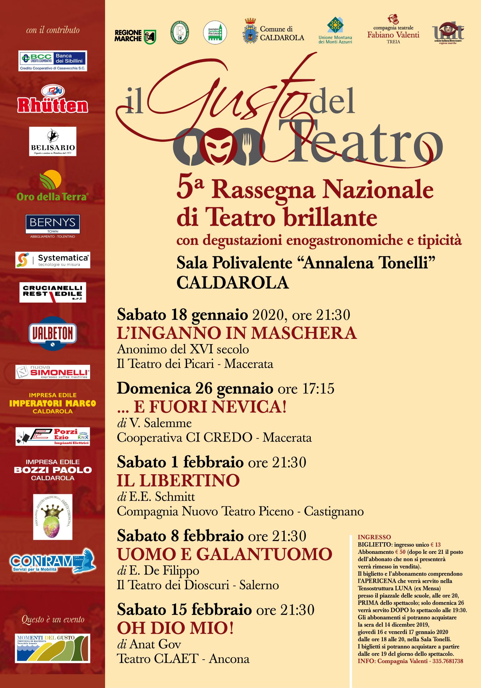 """Oh Dio mio! per """"Il gusto del teatro"""" a Caldarola (MC)"""